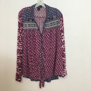 LUCKY BRAND Boho long sleeve peasant top 3X